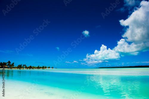 Vászonkép Peaceful calm setting of a tropical lagoon