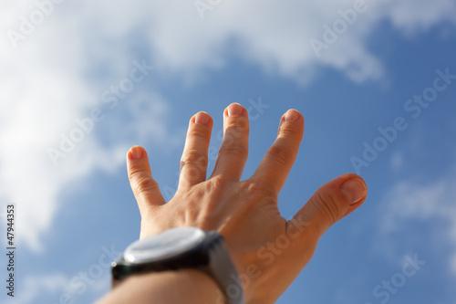 Fototapeta Wyciągnięta ręka do nieba obraz
