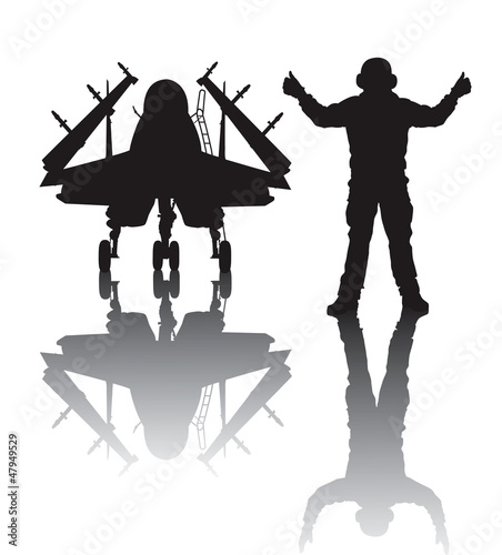 Photo  Landing military aircraft vector silhouette