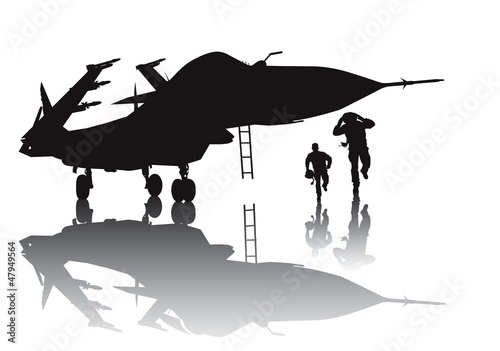 Photo  Military aircraft and running pilots vector silhouette