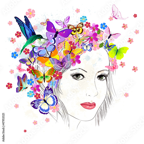 Fotobehang Bloemen vrouw girl drawing butterfly