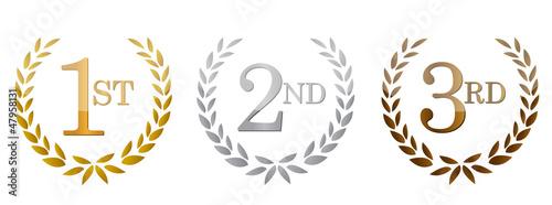 1st; 2nd; 3rd awards golden emblems. Slika na platnu