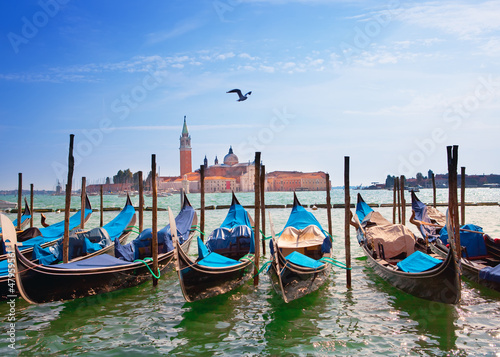 Spoed Foto op Canvas Venetie Italy. Venice. Gondolas in the Canal Grande..