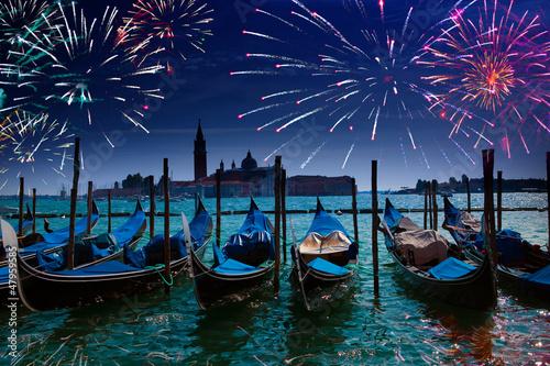 Foto op Plexiglas Venetie Festive fireworks over the Canal Grande in Venice