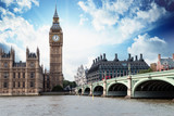 Fototapeta Big Ben - The Big Ben, the Houses of Parliament and Westminster Bridge in