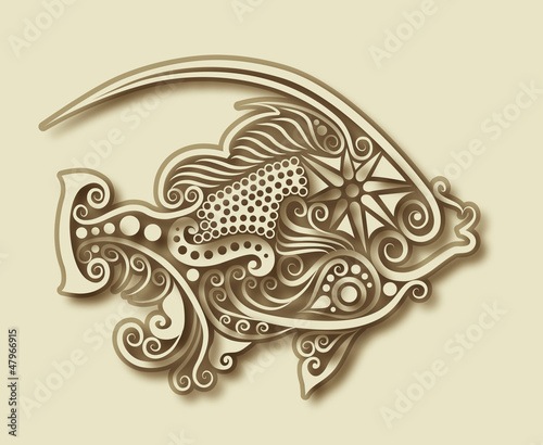 Carving fish ornament decoration vector