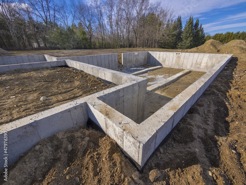 Concrete foundation for a new house Fototapet