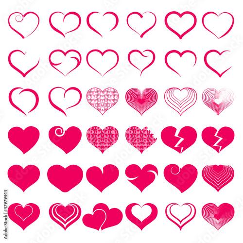 Foto op Aluminium Pixel Set of symbol heart, vector