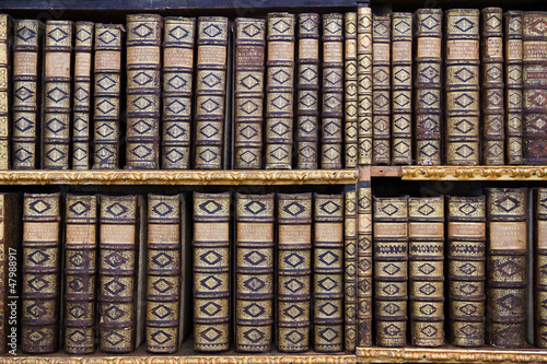 Staande foto Bibliotheek Old books in the Library of Stift Melk, Austria.