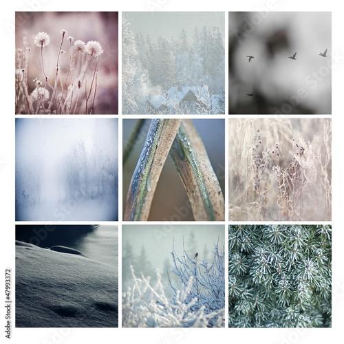zima szron śnieg góry oszronione pejzaż kwadrat niebieski - 47993372