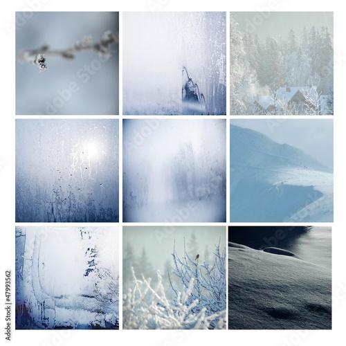 zima szron śnieg góry oszronione pejzaż kwadrat niebieski - 47993562