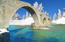 Winter Traditional Bridge Arta Greece Stone