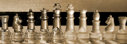 Chess Pieces business concept series: strategy, merger, win. Canvas Print
