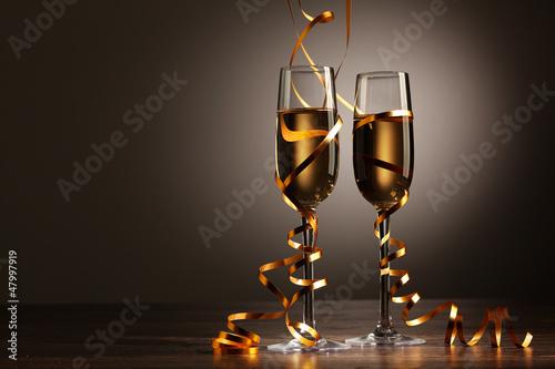 Fototapeta Glasses of champagne at new year party obraz na płótnie