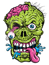 Detailed Zombie Head Illustrat...