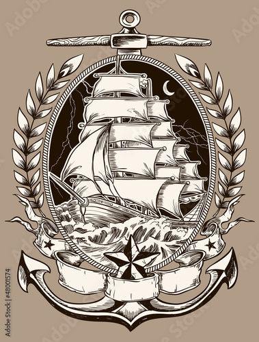 Fotografie, Obraz  Tattoo Style Pirate Ship In Crest