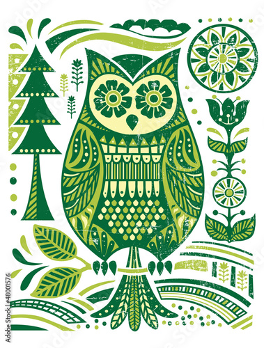 obraz PCV Ornate Woodblock Style Owl