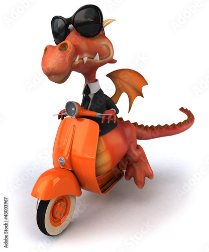 Foto op Canvas Motorfiets Fun dragon