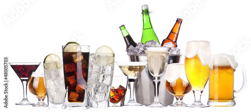 different images of alcohol set isolated Canvas Print