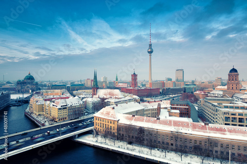 Berlin Skyline Winter City Panorama with snow and blue sky Wallpaper Mural