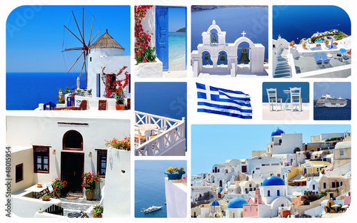 Fototapety, obrazy: Collage of summer photos in Santorini island, Greece
