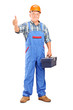 Manual worker holding tool box and giving a thumb up
