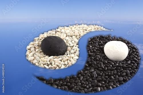 Photo sur Plexiglas Zen pierres a sable yin yang