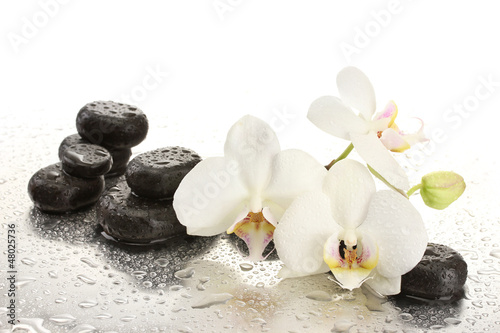 Fototapeta Spa stones and orchid flowers, isolated on white. obraz