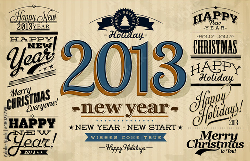 collection of happy new year labels with vintage styled design