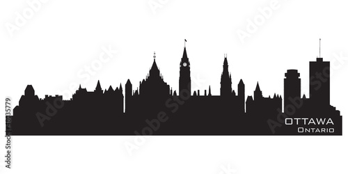 Ottawa, Canada skyline. Detailed silhouette