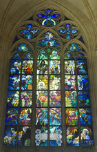 Gothic Stained Glass Window In St. Vitus Cathedral (prague)