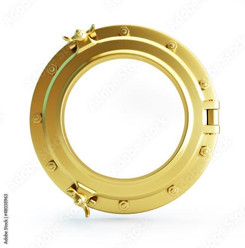 Foto auf AluDibond Schiff porthole gold