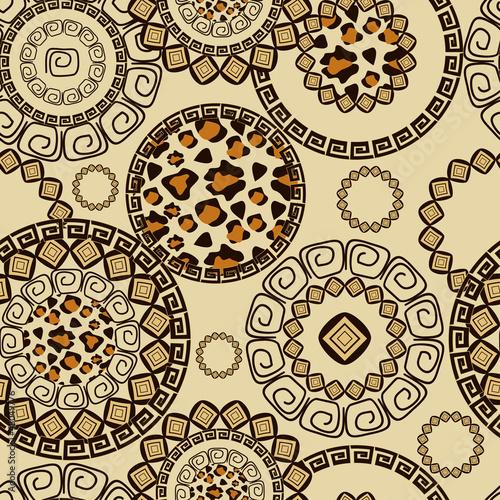 Staande foto Kunstmatig African style seamless pattern with wild animals skin