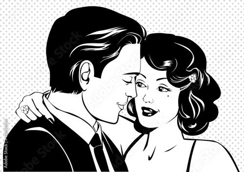 czarno-biale-zdjecie-komiksowe-zakochanej-pary