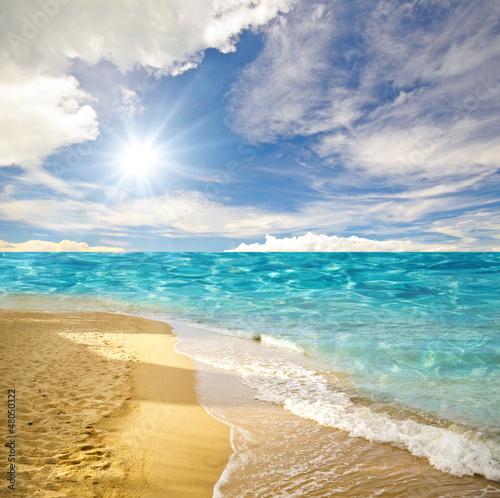 Foto-Kissen - Karibischer Traumstrand (von doris oberfrank-list)