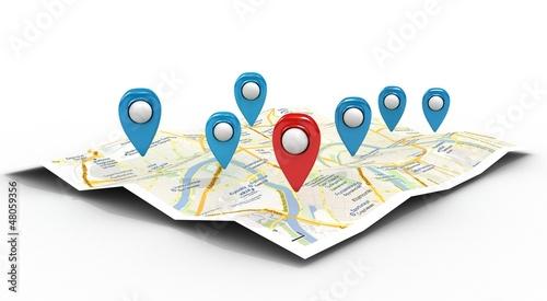 Obraz na płótnie map with Pin Pointers