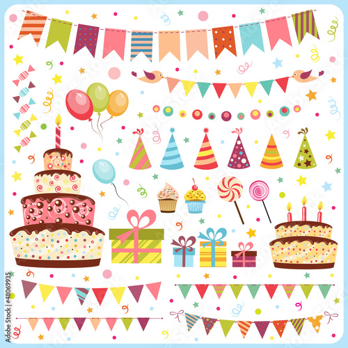 Set of birthday party elements Poster