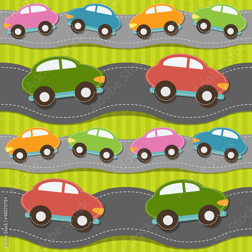 Poster de jardin Route Seamless pattern with cars