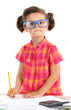 beautiful little girl with calculator and money isolated