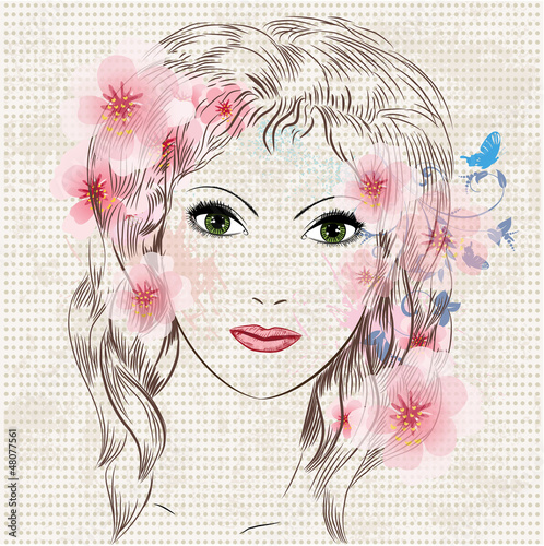Poster Bloemen vrouw Face of a beautiful fashion girl in flowers