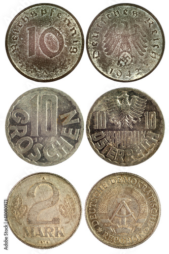 Poster  rare vintage coins of germany