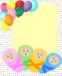 Newborn arrival, birthday card, baby frame, vector illustration