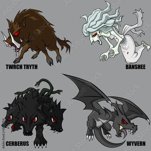 Mythical Creatures Set 08 Canvas Print
