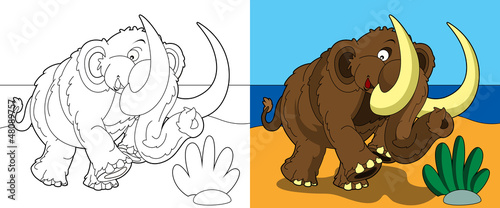 Deurstickers Doe het zelf The coloring page - happy mammoth