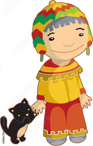 Stickers pour portes Indiens Local ethnic boy with cat