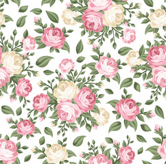 Fototapeta Romantyczny Seamless pattern with pink and white roses. Vector illustration.