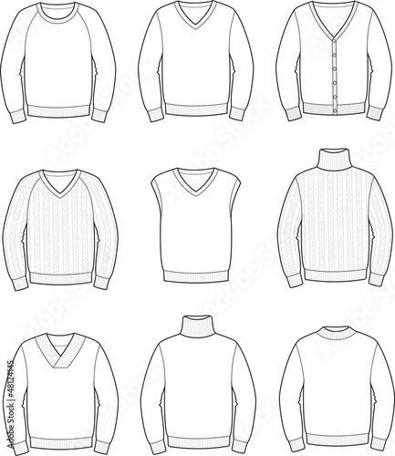 Pinturas sobre lienzo  Vector illustration of men's jerseys