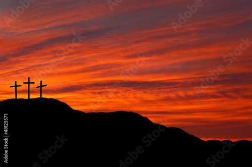Photographie Easter skyline with three crosses