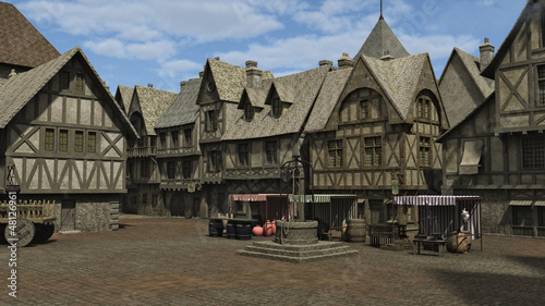 Stampa su Tela Medieval Town Square