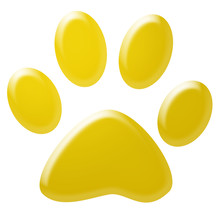 3d Yellow Pet Paw
